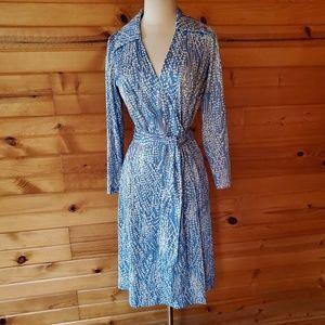 1970s Sears Blue & White Polyester Wrap Dress